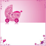 Cute pink baby card Royalty Free Stock Photography