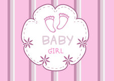 Cute pink baby foot,baby shower card Royalty Free Stock Image