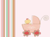 Cute pink baby girl and pram Stock Photo