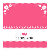 Cute of pink background and white flower with love. Beautiful cute flower  and pink background,illustrator eps 10 Royalty Free Stock Image