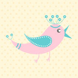 Cute pink bird, cartoon style Stock Photos