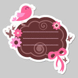 Cute pink bird frame Stock Images