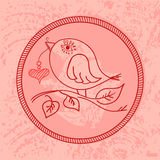 Cute pink bird with a heart on a string in its beak Royalty Free Stock Photos