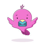Cute pink bird with letter. Vector illustration. Logo design tem Stock Image