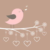 Cute pink bird sing with lacy flowers and hearts Royalty Free Stock Photos