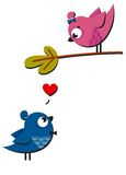 Cute pink and blue birds fall in love isolated on Stock Photo