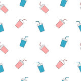 Cute pink and blue paper cups seamless pattern background illustration Stock Photos