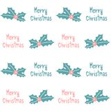 Cute pink blue seamless vector pattern background illustration with holly and hand drawn merry christmas text Stock Images
