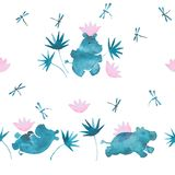 Cute pink and blue watercolor seamless pattern with cartoon style hippo babies playing with water lillies flowers and. Cute pastel tones watercolor seamless Stock Photography