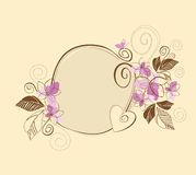Cute pink and brown floral frame Royalty Free Stock Photo