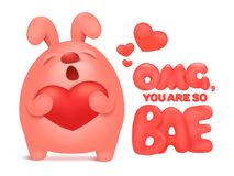 Cute pink bunny character holding red heart. Invitation valentine card. Vector illustration Royalty Free Stock Images
