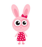 Cute pink bunny, rabbit icon, flat design. Isolated on white background. Stock Photography