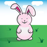 Cute pink bunny on a sunny day. Pink bunny on a sunny day. Vector made illustration with a funny iconic bunny. With a shodows applied vector illustration