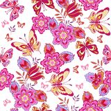 Cute pink butterflies on a white background. Seamless pattern of flowers and butterflies. Decorative ornament backdrop for fabric, stock illustration
