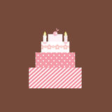 Cute Pink Cake. Vector Illustration of a cute pink birthday/wedding Cake Stock Photos