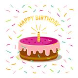 Cute pink cake with one candle, confetti and text `happy birthday` isolated on white background. Icon in flat style. Vector design. Concept can be used for Stock Photography