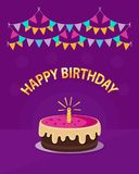 Cute pink cake with one candle, garland and text `happy birthday` isolated on violet background. Icon in flat style. Vector design concept can be used for Royalty Free Stock Photography