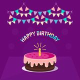 Cute pink cake with one candle, garland and text `happy birthday` isolated on violet background. Icon in flat style. Vector design. Concept can be used for Royalty Free Stock Images