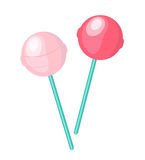 Cute, pink candy lollipop icon, flat design. Isolated on white background.  Royalty Free Stock Images