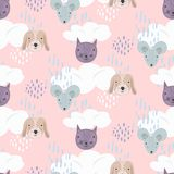 Cute pink cartoon pattern with cats, dogs and mice vector illustration