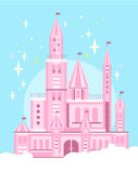 Cute Pink Castle vector Royalty Free Stock Photo