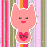 Cute pink cat. Greeting card vector illustration
