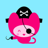 Cute Pink Cat Pirate Royalty Free Stock Photo