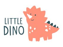 Free Cute Pink Dinosaur Illustration With Text Lettering `Little Dino` Stock Photography - 183551592