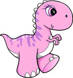 Cute Pink Dinosaur Vector Stock Images