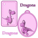 Cute Pink Dragon Tags Royalty Free Stock Image