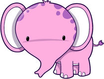 Cute Pink Elephant. Vector Illustration Royalty Free Stock Photos