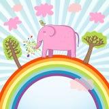 Cute pink elephant. Cartoon summer illustration - cute pink elephant on a rainbow Royalty Free Stock Photo