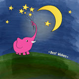 Cute pink elephant with a bouquet of stars Royalty Free Stock Photo