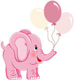 Cute pink elephant holding balloons Royalty Free Stock Photos