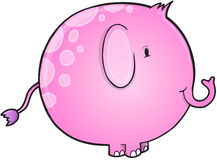 Cute Pink Elephant Vector Stock Photo