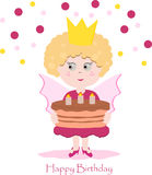 Cute pink fairy with delicious cake. With candles Royalty Free Stock Photo