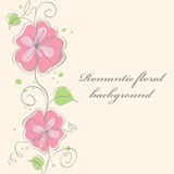 Cute pink  floral card background Stock Images