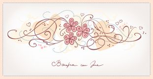 Cute pink flowers vintage background Stock Image