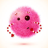 Cute pink fluffy vector monster. Cute pink fluffy ball vector monster with hands Royalty Free Stock Photography