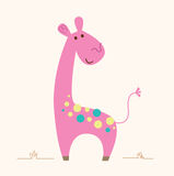 Cute pink Giraffe character for baby room vector illustration