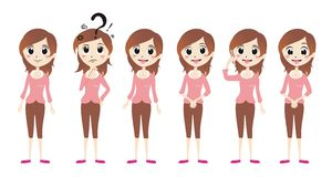 Cute Pink Girl Vector Stock Images