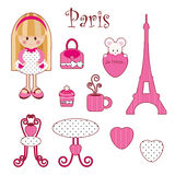 Cute pink girlish set. Paris. Isolated elements vector illustration