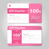 Cute pink and gold gift voucher template layout design set, certificate discount coupon pattern for shopping Royalty Free Stock Photo