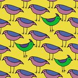 Cute pink and green Birds set. Vector Seamless pattern. Stock Image