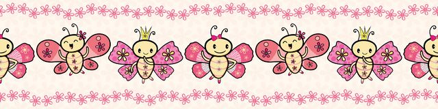Cute pink hand drawn Kawaii style dancing butterflies border with floral edging. Seamless vector pattern on cream flower