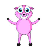 Cute Pink Happy Pig Stock Photo