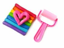 Cute pink heart, sticks plasticine clay, equipment dough stock photos