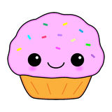 Cute Pink Kawaii Cupcake Cartoon Royalty Free Stock Photography