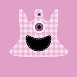 Cute pink kilted monster. With button eyes Stock Image