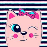 Cute pink kitten with pink bow on striped background. Girlish print with kitty for t-shirt. Vector illustration stock illustration